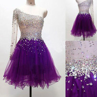 Purple Tulle Long Sleeve One-Shoulder Homecoming Dresses 2016 Short Graduation Party Dresses for Graduation Custom Made Z520