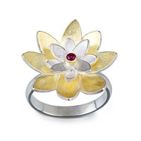 Lotus Flower Ring by Jamie Cassavoy: Silver Bimetal Stone Ring | Artful Home