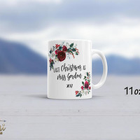 Christmas Mug for Bride-To-Be Personalized Mug Christmas Gift for Bride To Be Gift for Her Customized Christmas Mugs Last Christmas as Miss