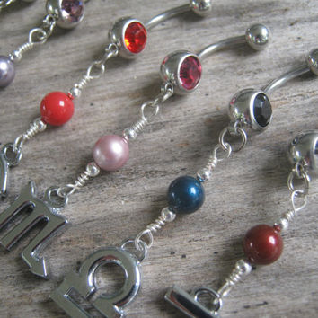 Choose Your Sign Belly Ring, CHROME, Zodiac Belly Button Jewelry, Swarovski Pearl Birthstone, Personalized Body Jewelry,Astrology Navel Ring