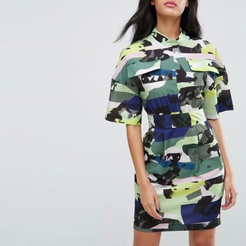 ASOS Utility Dress in Camo Print at asos.com