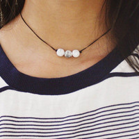 triple white marble stone beaded choker necklace - marble stone beads, black cord, minimal, modern, delicate, dainty