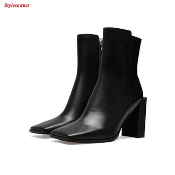 Stylesowner Hot Sale Fashion Solid Color Square Toe Women Ankle Boot Genuine Leahter Strange Chunky High Heel Zipper Ladies Boot