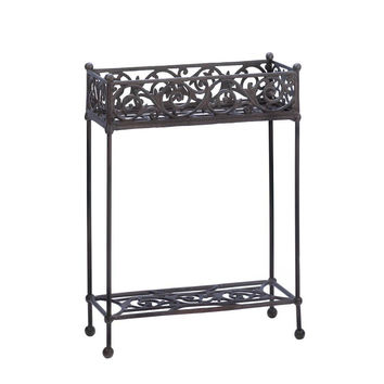 Flower Plant Stand-Iron 2 Tier Scrolled Edge
