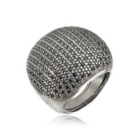 Azhar Designer Rings Large Cubic Zirconia Sterling Silver Cocktail Ring