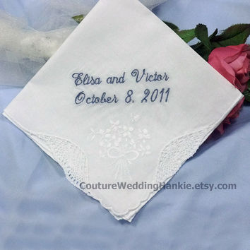 Something Blue Handkerchief for Bride Gift Personalized