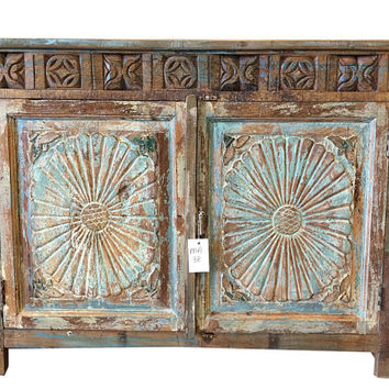 Antique Blue Sideboard Cabinet or Media Console / buffet India / Asian Style Sideboard