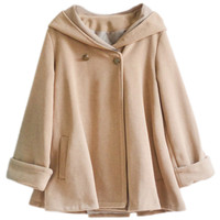 ROMWE Double-breasted Hooded Camel Cape Coat