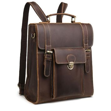 Crazy Horse Cowhide Genuine Leather Bag For Men Vintage Laptop Backpack Famous Brand Business Messenger Shoulder Bag New