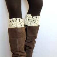 Lace boot cuffs cream hand knitted boot toppers boho gift under 20 Choose your color Ready to Ship