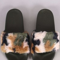 Camouflage Faux Fur Slide