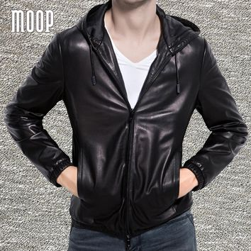 Black genuine leather jacket men lambskin business hooded casual jackets chaqueta moto hombre veste cuir homme cappotto LT1329
