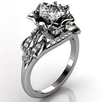 14k white gold diamond unusual unique floral engagement ring, bridal ring, wedding ring ER-1078-1