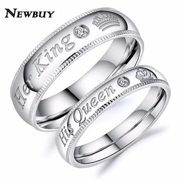 Cool NEWBUY 2018 Fashion Her King His Queen Couple Wedding Ring For Lovers High Quality Stainless Steel Engagement Jewelry DropshipAT_93_12