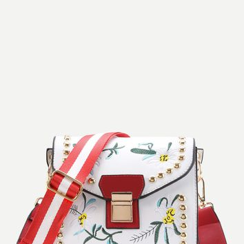 Flower Embroidery Cross Body Bag With Studded