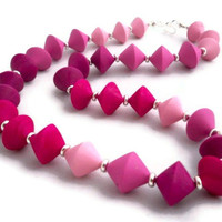 Polymer clay pink beaded necklace unique bicone beads one of a kind