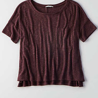 AEO Ribbed Pocket T-Shirt, Deep Plum