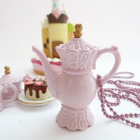 Antique pink Teapot  necklace alice in wonderland by shimrita