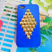 iphone case golden pyramid stud  Hard Case Cover For Apple iPhone 4,4S ,iPhone 4 Case, iPhone 4s Case, iPhone 4 Hard Case,  case cover