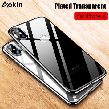 Aokin Fundas for iPhone 5 5s 6 6s Plus Case Gold Plated Ultra Thin Slim Transparent Soft TPU Cover for iPhone X 7 8 8 Plus Coque