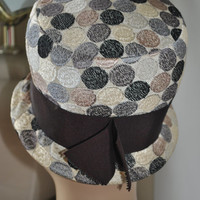1950's Hat Vintage Spotted Cloche, Ladies Vintage Cloche Dotted Hat