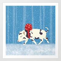 Cute Little Pig Holiday Design Art Print by oursunnycdays