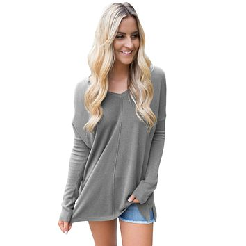 Gray Soft V Neck Sweater