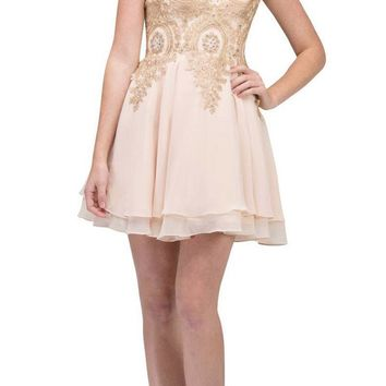 Starbox USA S6310 Champagne Applique Bodice A-Line Short Homecoming Dress