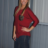 Slightly Flashy Pocket Top (Burgundy)