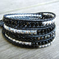 Beaded Leather Wrap Bracelet 5 Wrap with Black Silver and Hematite Polished Czech Glass Beads on Black Leather