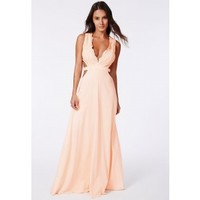 Missguided - Bakiya Nude Lace Cut Out Maxi Dress - Campaign
