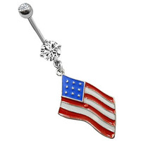 America Flag Belly Rings Dangle Belly Button Rings Sexy Cheap Stainless Surgical Steel Crystal Jewelry