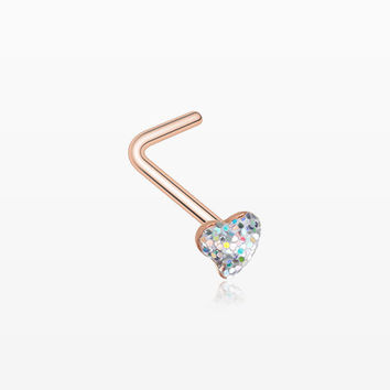 Rose Gold Heart Glitter Sparkle L-Shaped Nose Ring