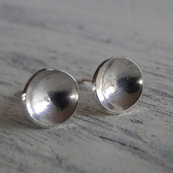 Silver Stud Earrings - Sterling Silver Post - Round Hand Cut Earring Studs - Everyday Wearable Jewelry with FREE Gift Wrapping
