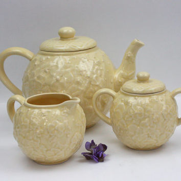 Bordallo Pinheiro Tea Set / Yellow Pansies