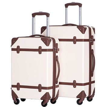 Travelhouse 2 Piece ABS Luggage Set Vintage Suitcase