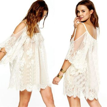 Feitong 2017 Women Summer Beach Dress Sexy Cover Strap Sheer Floral Lace Embroidered Crochet Loose Dresses Hippie Boho vestidos