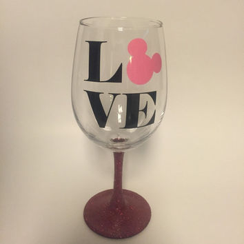 Mickey love glittered wine glass, stemless, or tumbler