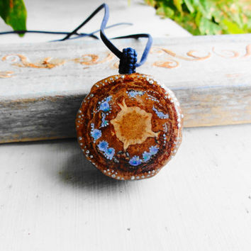 Pine Cone Pendant Necklace Galaxy - pine cone slice pendant - natural unique pendant jewelry - Fashion long Pinecone Necklaces Pendants Wood