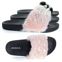 Eyeball Pink By Soda, Pearl Faux Marabou Fur Slide Flip Flop Sandal, Furry Open Toe Flat Slipper
