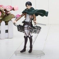 "Attack on Titan Shingeki no Kyojin Rivaille Figma 213 Boxed PVC Action Figure Model Collection Toy 6"" 14CM"