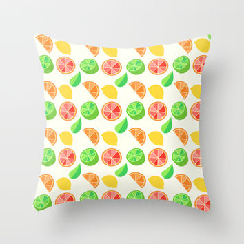 Citrus Pattern Throw Pillow by Adorkible