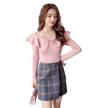 Bohemian  Autumn Winter Women Peter Pan Collars Clothes Knitted Pullovers Undershirts Woman Thin Tight Slim Simple W13