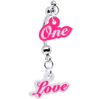 Pink and White Acrylic One Love Double Mount Belly Ring | Body Candy Body Jewelry