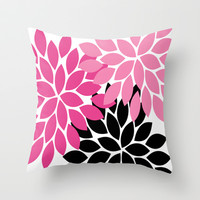 Bold Colorful Hot Pink Black Dahlia Flower Burst Petals Throw Pillow by TRM Design