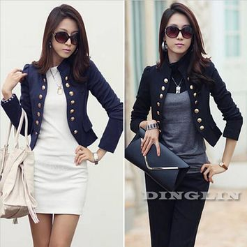 Korean Women Ladies Wear To Work Long Sleeve Button Slim Peplum Cropped Blazer Casual Jacket Cardigan Coat Free Shipping