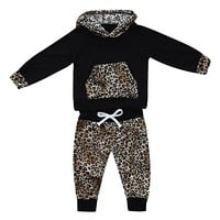 Newborn Baby Girl Boy Clothes Set Leopard Print Hooded Coat Tops + Trousers Pants Sets For Children
