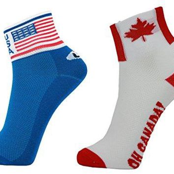 LIN 2 Pack Sports Bike Running Spin Class Hiking Gym Training Cool Funny Cycling Socks US Flag Canada Flag