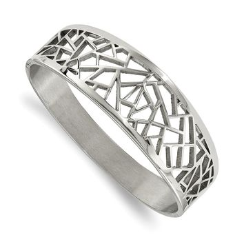 Stainless Steel Polished Geometric Cut-out Hinged Bangle Bracelet