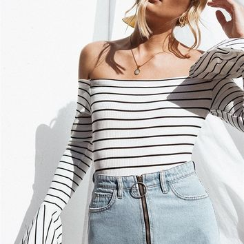 Avery Stripe Bodysuit - Tops by Sabo Skirt